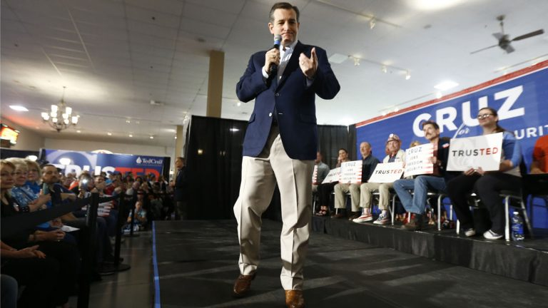 Republican presidential candidate Sen. Ted Cruz of Texas speaks during a rally