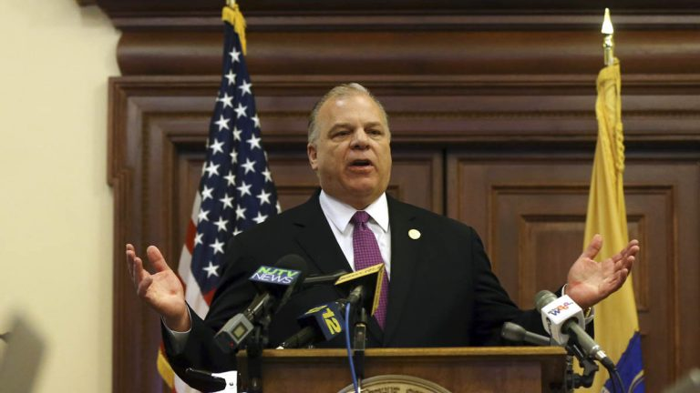 New Jersey Senate President Steve Sweeney tells a gathering Thursday that he will push for a constitutional amendment requiring the state to make quarterly public pension payments despite Gov. Chris Christie's strong opposition. (AP Photo/Mel Evans)