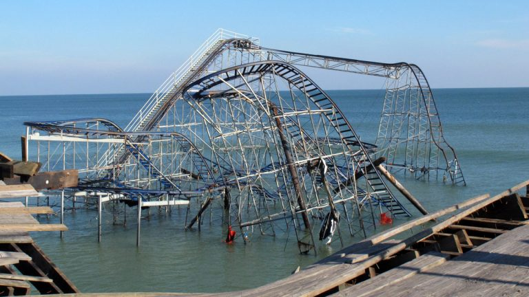 The Jet Star roller coaster was thrown into the ocean in Seaside Heights