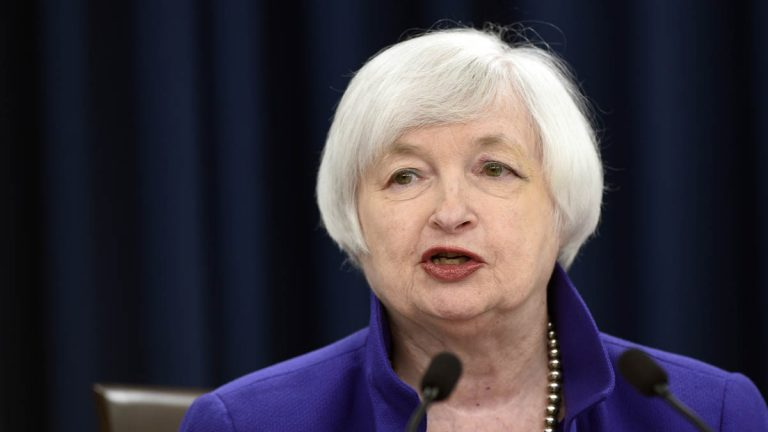 Federal Reserve Chair Janet Yellen speaks during a news conference in Washington