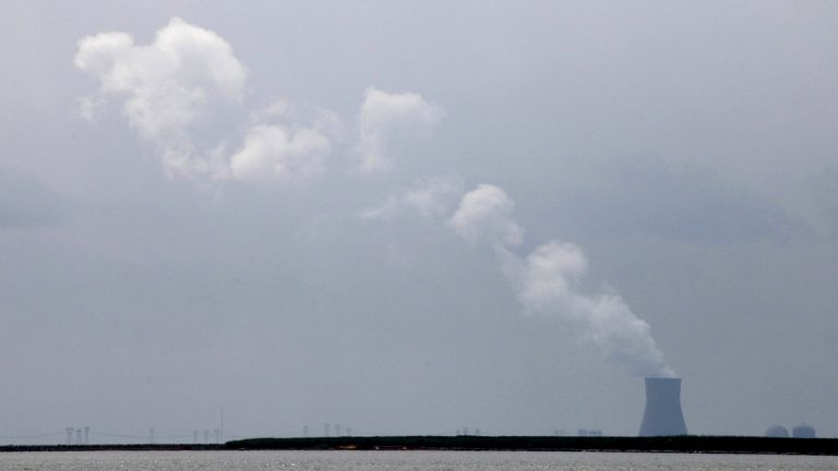 Steam clouds rise from the Salem Nuclear Power Plant in Lower Alloways Creek Township, N.J., Saturday, Aug. 11, 2012. (Mark Lennihan/AP Photo)