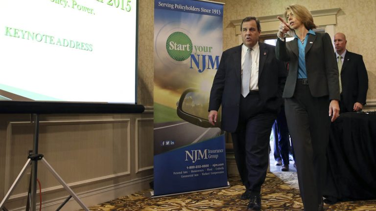 Michele S. Siekerka, president and CEO of The New Jersey Business & Industry Association, leads New Jersey Gov. Chris Christie to a New Jersey Business and Industry event last week in East Windsor. She says a constitutional amendment under consideration the Legislature would hurt taxpayers. (AP Photo/Mel Evans)