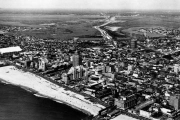 This is an aerial view of Atlantic City, N.J., with the famed boardwalk and beach in the foreground, on August 24, 1967. Seen on the left are the facilities of the Convention Hall, in the background is the new 70-mile-per-hour Atlantic City Expressway, which leads right into the heart of the city. (AP Photo)