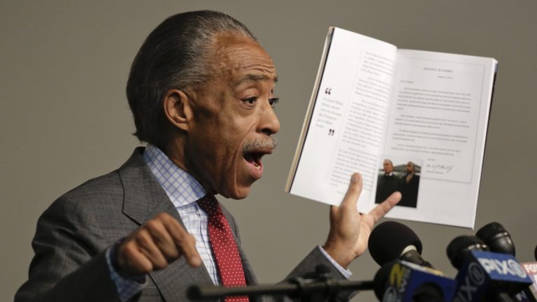The Rev. Al Sharpton speaks during a news conference, Wednesday, Nov. 19, 2014, in New York. Sharpton spoke about his plans for the pending grand jury decisions in the deaths of Michael Brown in a St. Louis suburb and Eric Garner in New York and also addressed tax allegations in a New York Times story. (Julie Jacobson/AP Photo)