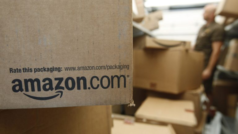 In this Oct. 18, 2010 photo, an Amazon.com package awaits delivery from UPS (Paul Sakuma/AP Photo)
