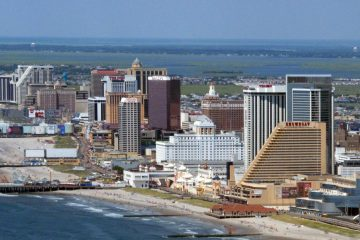 This July 11, 2014 file photo shows many of the Atlantic City N.J. Boardwalk casinos. (Wayne Parry/AP File Photo)
