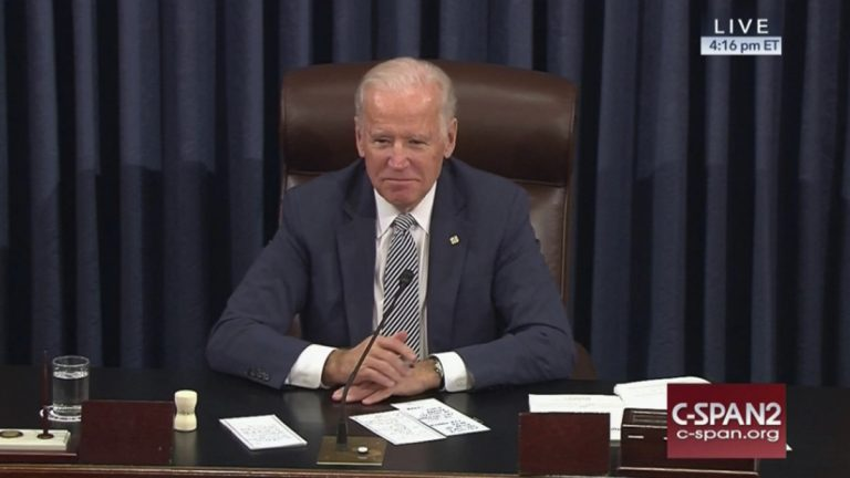 This image provided by C-SPAN2 shows Vice President Joe Biden listening in the Senate Chamber on Capitol Hill in Washington