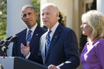 Vice President Joe Biden, with his wife Dr. Jill Biden, right, and President Barack Obama announces that he will not run for the presidential nomination, Wednesday, Oct. 21, 2015, in the Rose Garden of the White House in Washington. (Jacquelyn Martin/AP Photo)