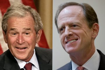 President George W. Bush (left) and Sen. Pat Toomey