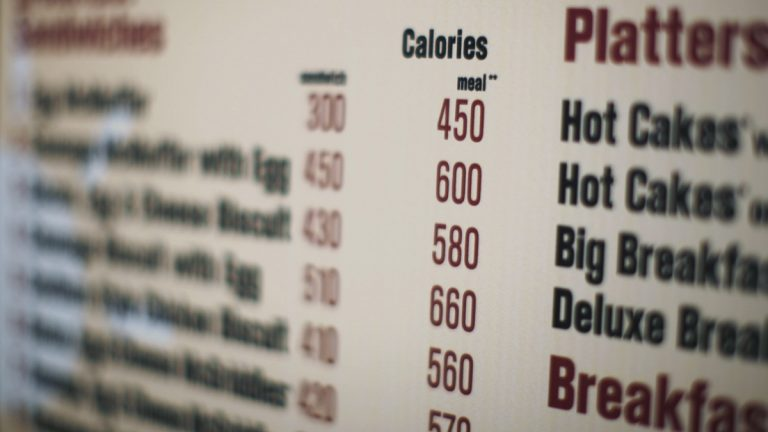 A McDonalds drive-thru menu printed with calorie counts for each food item (Ed Ou/AP Photo, file)