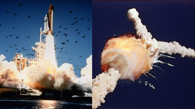 The Space Shuttle Challenger lifts off (left) and explodes shortly after over the Kennedy Space Center, Fla., Tuesday, Jan. 28, 1986.  All seven crew members died in the explosion, which was blamed on faulty o-rings in the shuttle's booster rockets. The Challenger's crew was honored with burials at Arlington National Cemetery. (Bruce Weaver/AP Photo)