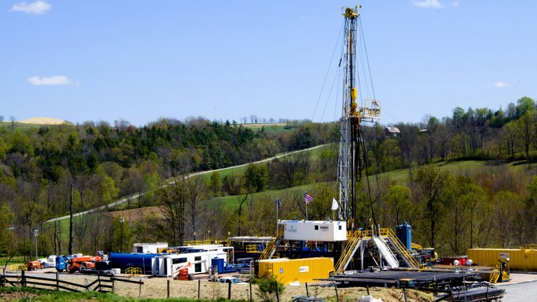 In this April 23, 2010 file photo, a Chesapeake Energy natural gas well site is seen near Burlington, Pa. (Ralph Wilson/AP Photo, file)