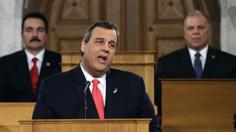 New Jersey Gov. Chris Christie will deliver a budget address to the state Legislature Tuesday.  Assembly Speaker Vincent Prieto, D-Hudson (left), and Senate President Steve  Sweeney, D-Gloucester,  say they're counting  on the governor to address the state's pension system shortfall. (Mel Evans/AP photo)