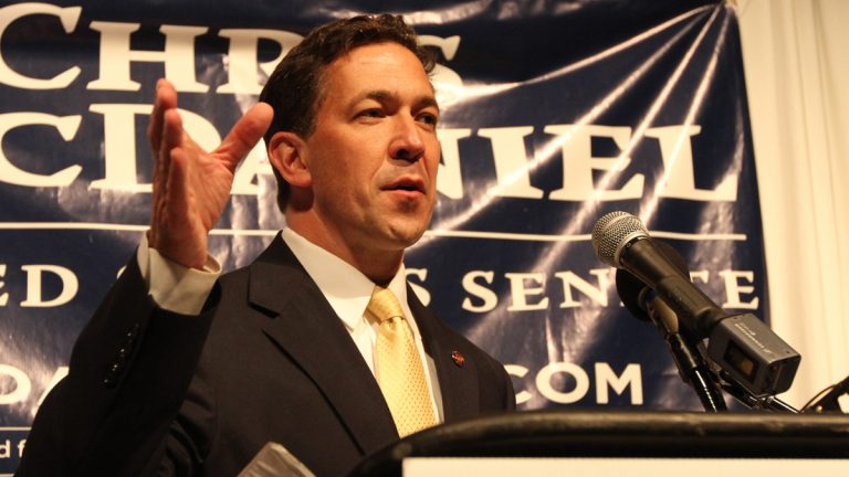 Chris McDaniel promises a victory to a late night audience Tuesday July 3, 2014, at the Lake Terrace Convention Center in Hattiesburg, Miss. McDaniel and six-term Sen. Thad Cochran dueled inconclusively Tuesday night at close quarters during Mississippi's primary election (George Clark/AP Photo)