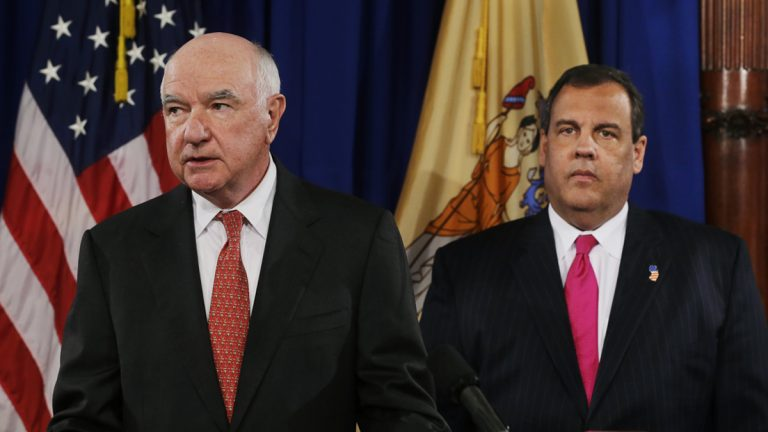 John Degnan, left, makes a statement after New Jersey Gov. Chris Christie introduced him as his choice to be next chairman of the Port Authority of New York and New Jersey, in Trenton, N.J., Tuesday, April 29, 2014. Christie put forth Degnan, a former state attorney general, to be the next chairman of the embattled agency at the center of the traffic jams scandal that has clouded the Republican governor's political future. Degnan is a registered Democrat who served as attorney general from 1978 to 1981.(Mel Evans/AP Photo)