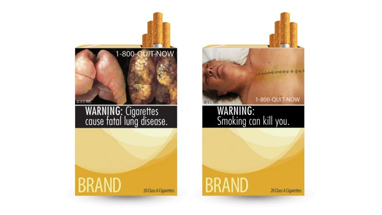This combo made from file images provided by the U.S. Food and Drug Administration shows potential cigarette warning labels. (AP Photo/U.S. Food and Drug Administration, File)