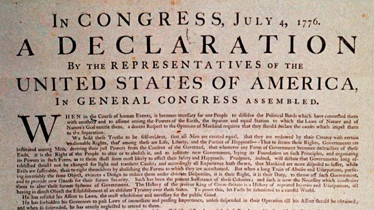 A 1776 copy of the Declaration of Independence, shown in this undated handout photograph. (AP Photo)