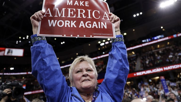 Alaska delegate Kathy Hosford reacts during the second day session of the Republican National Convention in Cleveland
