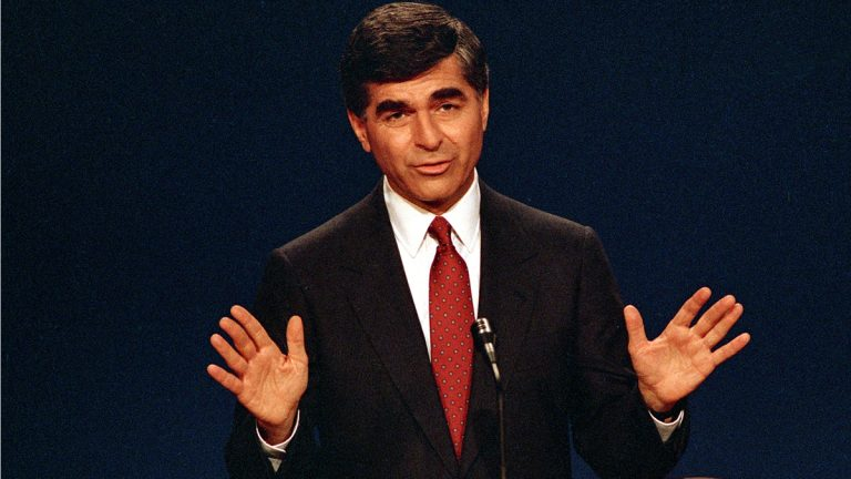 Democratic presidential candidate and Massachusetts Governor Michael Dukakis answers questions during the second presidential debate with opponent Vice President George Bush at Pauley Pavilion on the UCLA campus in Los Angeles