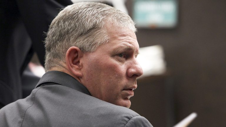 Former Philadelphia Phillies outfielder Lenny Dykstra is seen during his sentencing for grand theft auto in the San Fernando Valley section of Los Angeles on Monday, March 5, 2012. Dykstra was sentenced Monday to three years in state prison in a grand theft auto case. (Nick Ut/AP Photo)