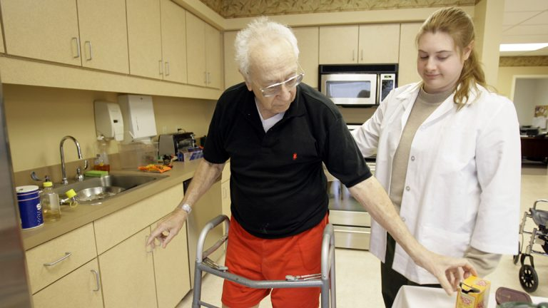 In this file photo a patient works with occupational therapist in Hatboro