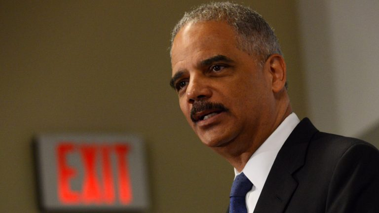 Outgoing Attorney General Eric Holder speaks at the Voting Rights Brain Trust event, Friday, Sept. 26, 2014, during the 2014 Congressional Black Caucus Annual Legislative Conference in Washington. On Thursday, Holder announced he would be stepping down as attorney general. (Molly Riley/AP Photo)