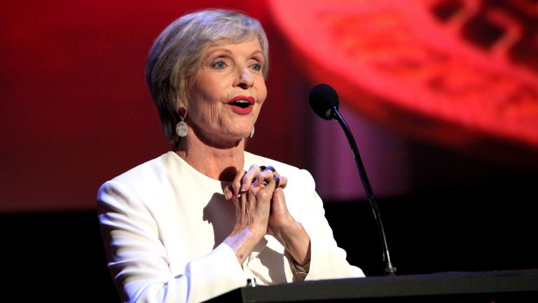 Florence Henderson presents the Emmy for News Special at the L.A. Area Emmy Awards presented at the Television Academy's new Saban Media Center on Saturday