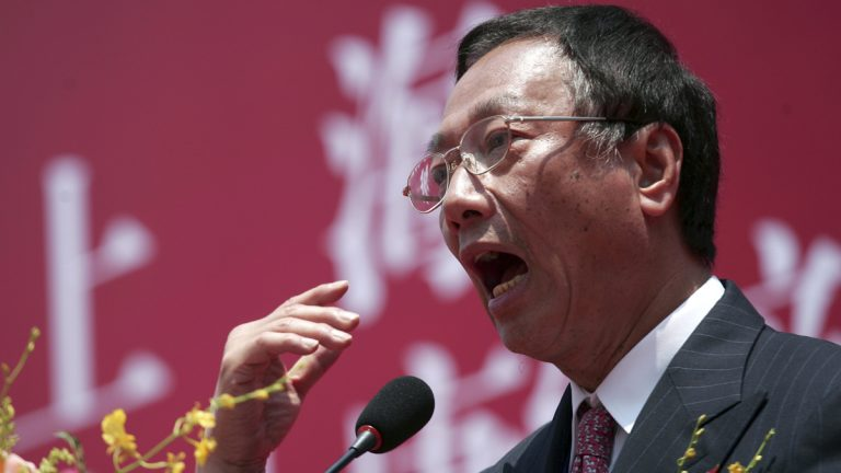Foxconn Technology Group Chairman Terry Gou speaks during the groundbreaking ceremony for the company's headquarters in Shanghai, China, Thursday, May 10, 2012. Foxconn Technology Group, the world's biggest assembler of consumer electronics, began work Thursday on the headquarters that it says will help spearhead its efforts to sell more in the China market. (AP Photo)