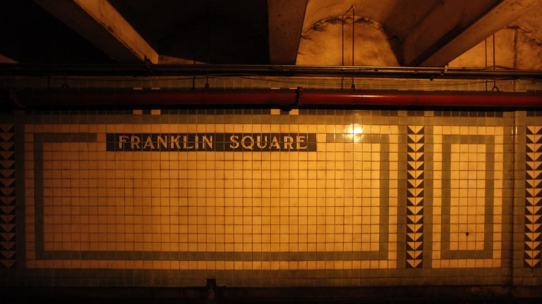 Shown is a wall in the Franklin Square statin which has been closed for decades, in Philadelphia, Monday, Aug. 3, 2009. (Matt Rourke/AP Photo)