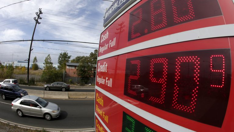 Gas prices below $3 dollars are displayed at a gas station, Wednesday, Oct. 15, 2014, in Jersey City, N.J. (Julio Cortez/AP Photo)