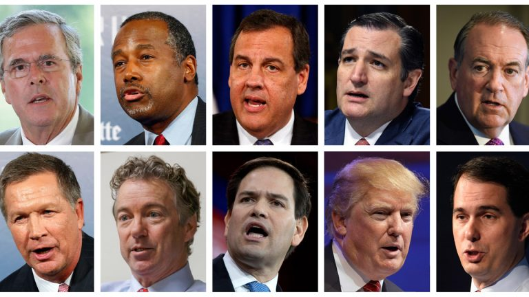 This combination of photos, from top left, shows Republican presidential candidates Jeb Bush, Ben Carson, Chris Christie, Ted Cruz, Mike Huckabee and, from bottom left, John Kasich, Rand Paul, Marco Rubio, Donald Trump and Scott Walker. (AP Photos/File)