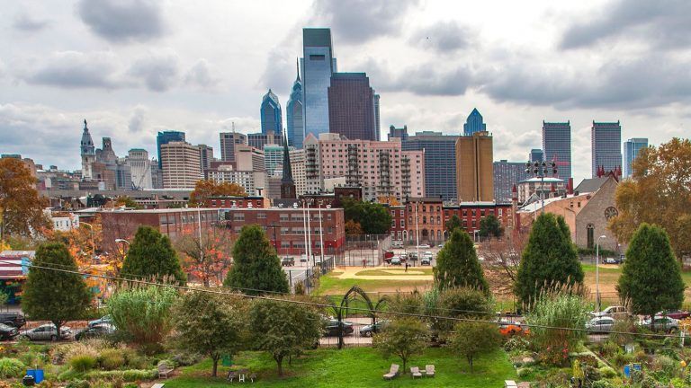 The Philadelphia skyline can be seen past a community garden located in the Spring Garden neighborhood. (PRNewsFoto/Greater Philadelphia Tourism Marketing Corporation/R. Kennedy for GPTMC)