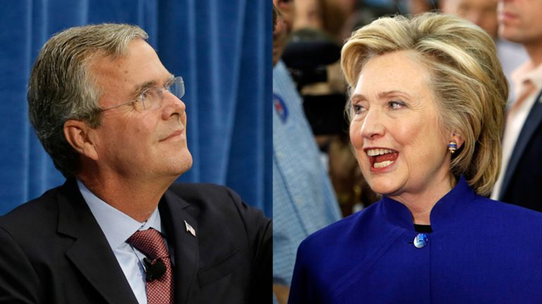Republican presidential candidate, former Florida Gov. Jeb Bush; and Democratic presidential candidate Hillary Rodham Clinton  (Charlie Neibergall and Jim Cole/AP Photos)