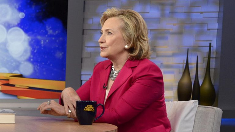 In this photo provided by the American Broadcasting Companies, Inc., former Secretary of State Hillary Rodham Clinton, discusses her new memoir, 'Hard Choices,' live on 'Good Morning America' (Ida Mae Astute, ABC/AP Photo)