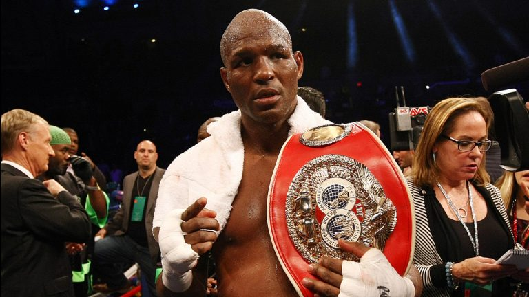 Bernard Hopkins poses with his belt after beating Karo Murat by unanimous decision after twelve rounds in Atlantic City, N.J. on Saturday, Oct. 26, 2013. Hopkins joins fellow Philly fighter Danny Garcia to host back-to-back turkey giveaways in Philadelphia this week. (Tim Larsen/AP Photo)