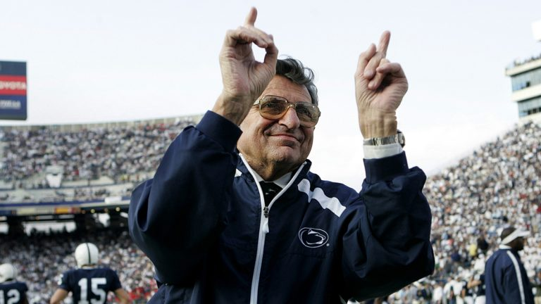 The late Penn State head coach Joe Paterno pictured at Beaver Stadium in State College, Pa., on Saturday, Aug. 12, 2006 (Carolyn Kaster/AP Photo, file)
