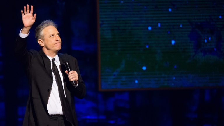 Jon Stewart appears onstage at Comedy Central's