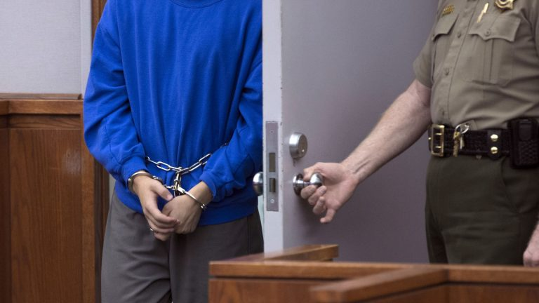 A minor enters court for a plea deal in this 2014 file photo. He pleaded guilty to two counts of murder, acknowledging that he intentionally and knowingly stabbed his two younger brothers to death last year. (Laura Seitz, Deseret News/AP Photo, Pool)