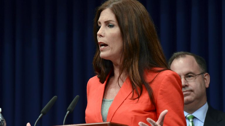 Attorney General Kathleen Kane speaks during a news conference Friday, June 27, 2014, at the Capitol in Harrisburg, Pa. (Marc Levy/AP Photo)