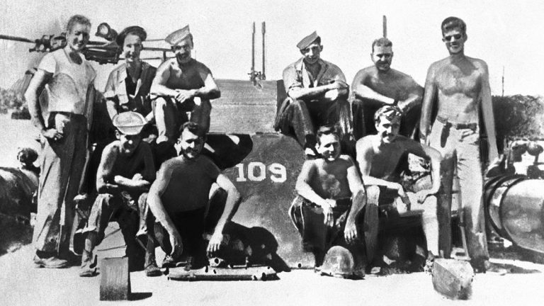 Lieutenant John F. Kennedy, (right), and his PT 109 crew are shown somewhere in the South Pacific, July 1943. (AP Photo)