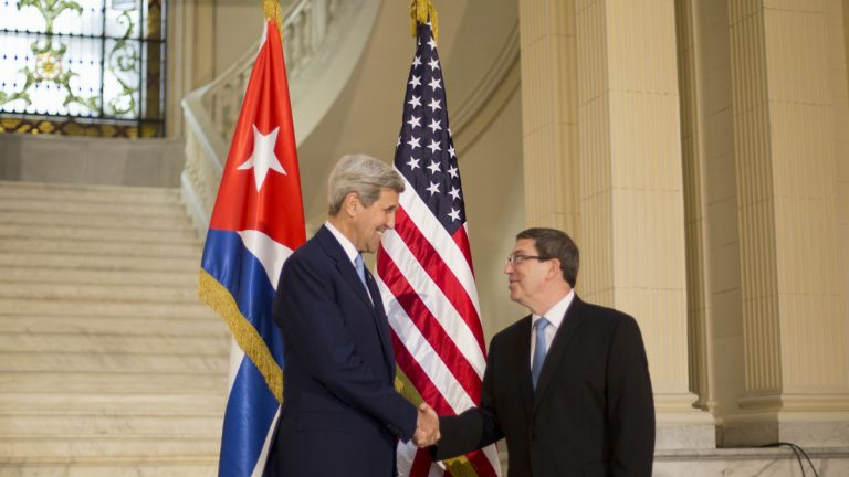 Secretary of State John Kerry shakes hands with Cuban Foreign Minister Bruno Rodriguez prior to their meeting at the Foreign Ministry in Havana, Cuba, Friday, Aug. 14, 2015. Kerry traveled to the Cuban capital to raise the U.S. flag and formally reopen the long-closed U.S. Embassy. Cuba and U.S. officially restored diplomatic relations July 20, as part of efforts to normalize ties between the former Cold War foes. (Pablo Martinez Monsivais/AP Photo, Pool)