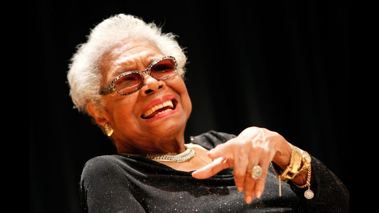 In this April 5, 2014 photo, Maya Angelou answers questions at her portrait unveiling at the Smithsonian's National Portrait Gallery in Washington, DC. (AP Images for National Portrait Gallery/Paul Morigi)