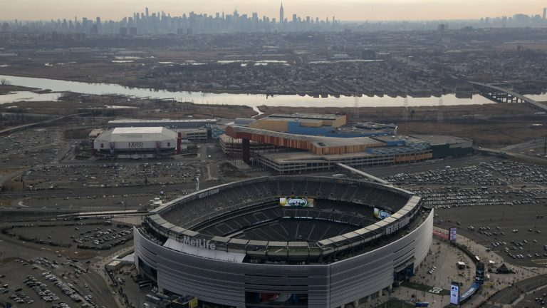 MetLife Stadium is shown in this Dec. 1, 2013 aerial photo in East Rutherford, N.J. The stadium, home to the New York Jets and New York Giants football teams, is the scheduled host site for Super Bowl XLVIII. The New York skyline is on the horizon. (Mark Lennihan/AP Photo)