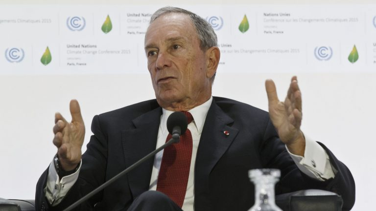 Former New York City Mayor Michael Bloomberg gestures as he speaks during a panel discussion on 'Climate Change and Financial Markets' at the COP21, United Nations Climate Change Conference, in Le Bourget north of Paris, Friday, Dec. 4, 2015. (Michel Euler/AP Photo)