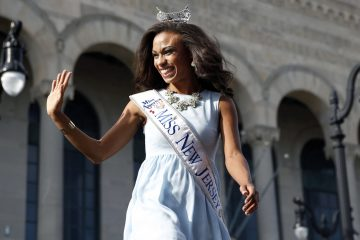 Miss New Jersey Cierra Kaler-Jones waves during Miss America Pageant arrival ceremonies Wednesday in Atlantic City. (Mel Evans/AP Photo)