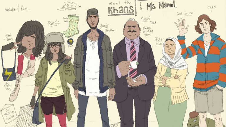 This comic book image released by Marvel Comics shows character Kamala Khan , second left, with her family Aamir, father Yusuf, mother Disha and friend Bruno, from the