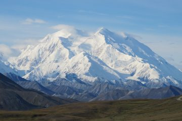 The former Mt. McKinley seen on a rare sunny day, Friday, Aug. 19, 2011, in Denali National Park, Alaska. (Becky Bohrer/AP Photo)