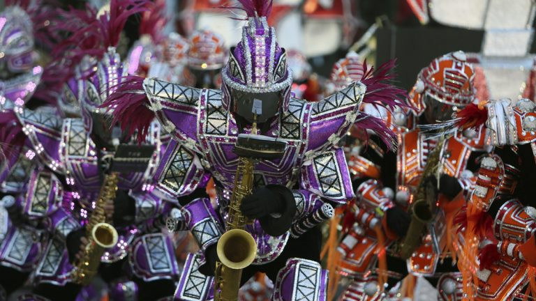 Members of the Fralinger String Band perform during the 115th annual Mummers Parade in Philadelphia