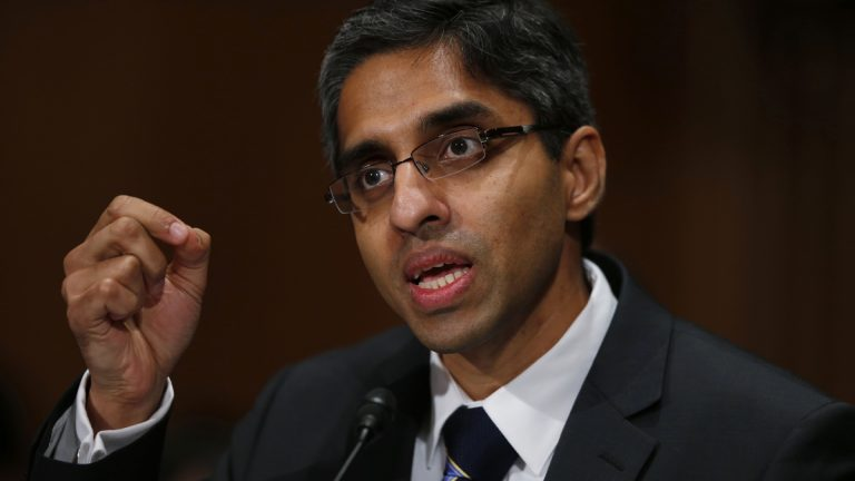 Dr. Vivek Hallegere Murthy, President Barack Obama's nominee to be the next U.S. Surgeon General, prepares to testify on Capitol Hill in Washington, Tuesday, Feb. 4, 2014, before the  Senate Health, Education, Labor, and Pensions Committee hearing on his nomination. (AP Photo/Charles Dharapak)