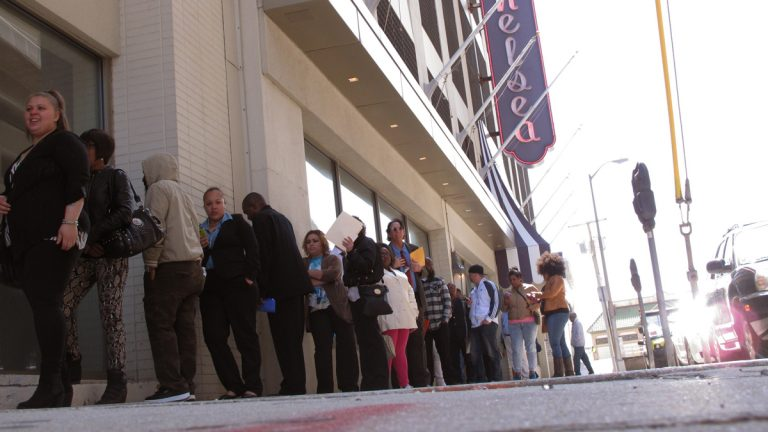 Applicants for jobs at the Chelsea hotel in Atlantic City N.J. line up outside it on Wednesday April 22